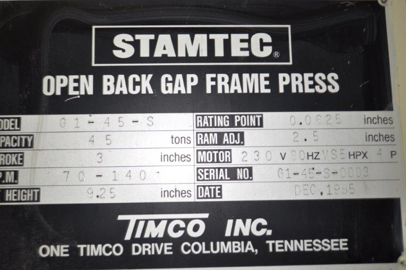 45 TON STAMTEC GAP FRAME PRESS