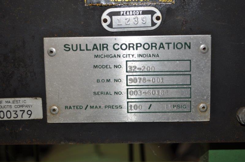 200 HP SULLAIR ROTARY SCREW AIR COMPRESSOR