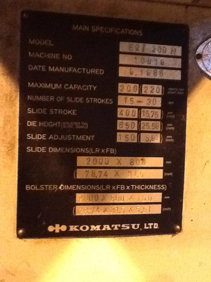 220 TON KOMATSU STRAIGHT SIDE DOUBLE CRANK PRESS