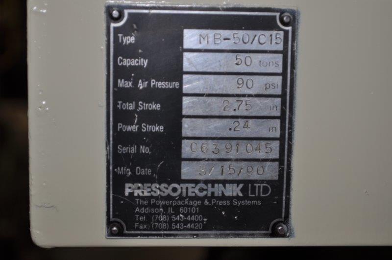 50 TON TOX PRESSOTECHNIK  MB-50 AIR OVER HYDRAULIC PRESS