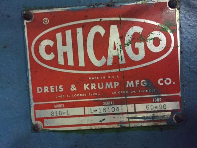 90 TON  x 10' CHICAGO DREIS AND KRUMP MECHANICAL PRESS BRAKE