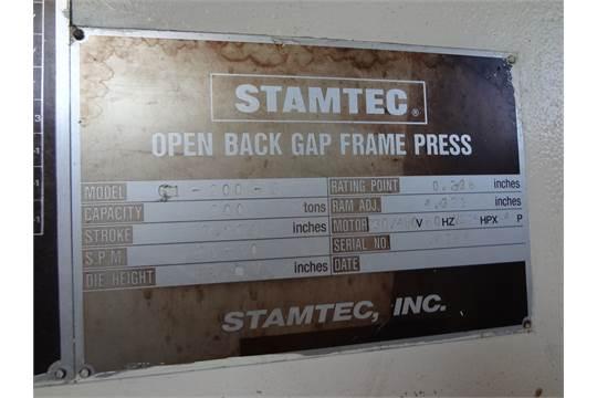 220 TON STAMTEC SINGLE POINT GAP FRAME PRESS