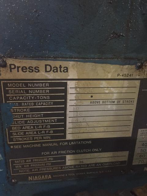 90 TON NIAGARA OBI BACK GEARED PRESS