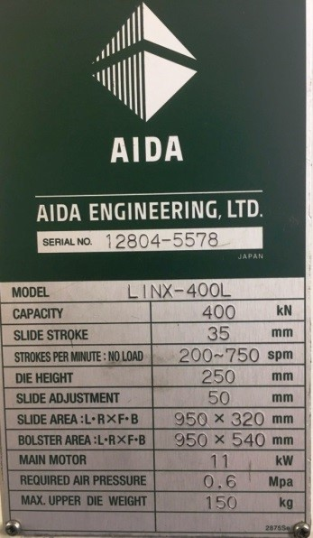 45 TON AIDA SSDC PRESS