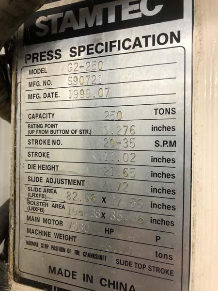250 TON STAMTEC DOUBLE CRANK GAP FRAME PRESS