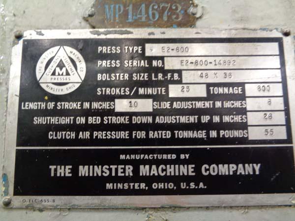 600 TON MINSTER SSDC