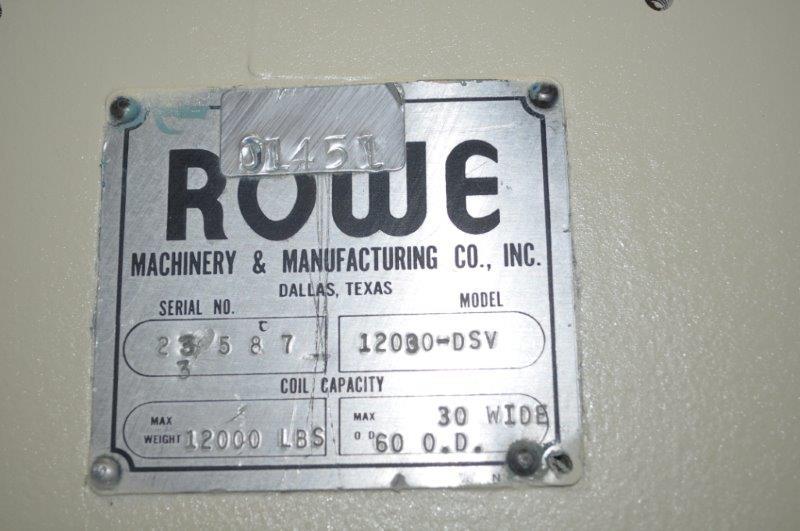 """12,000 x 37"""" ROWE MOTORIZED UNCOILER"""