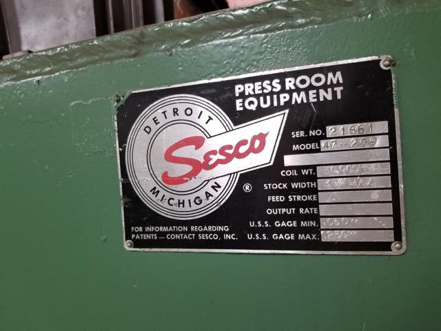 """30,000 lb x 39""""  x .250"""" SESCO SERVO FEED LINE"""