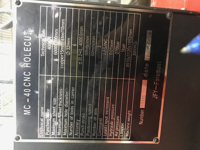 JFY MC 40 CNC BUS BAR PUNCH