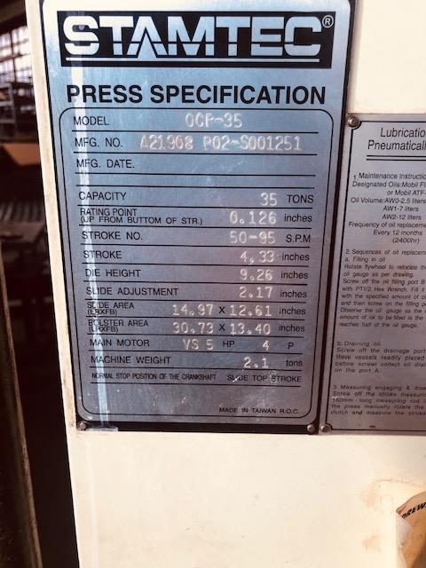 38 TON STAMTEC GAP FRAME PRESS