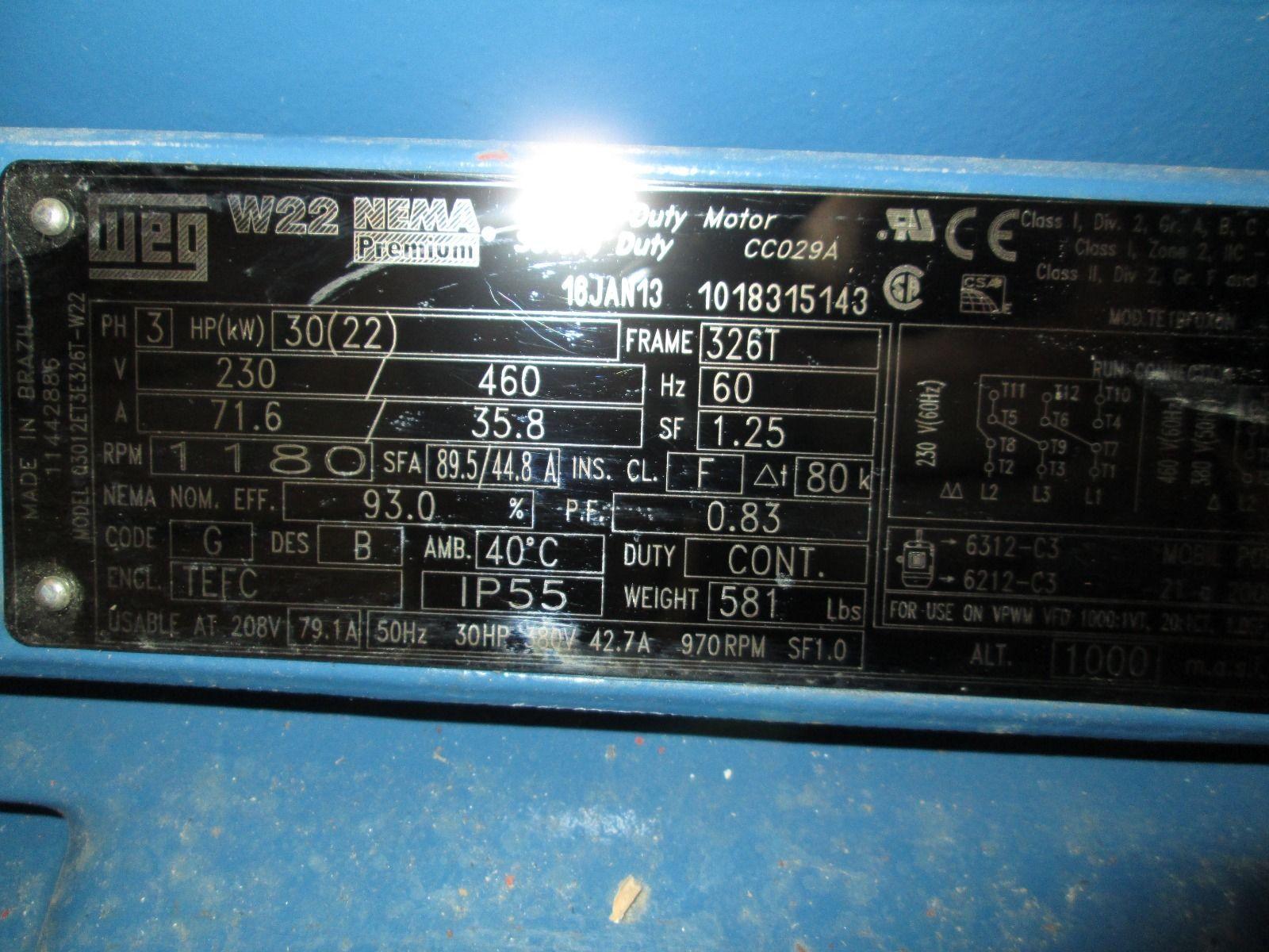 WEG 30 HP W22 NEMA Premium Motor