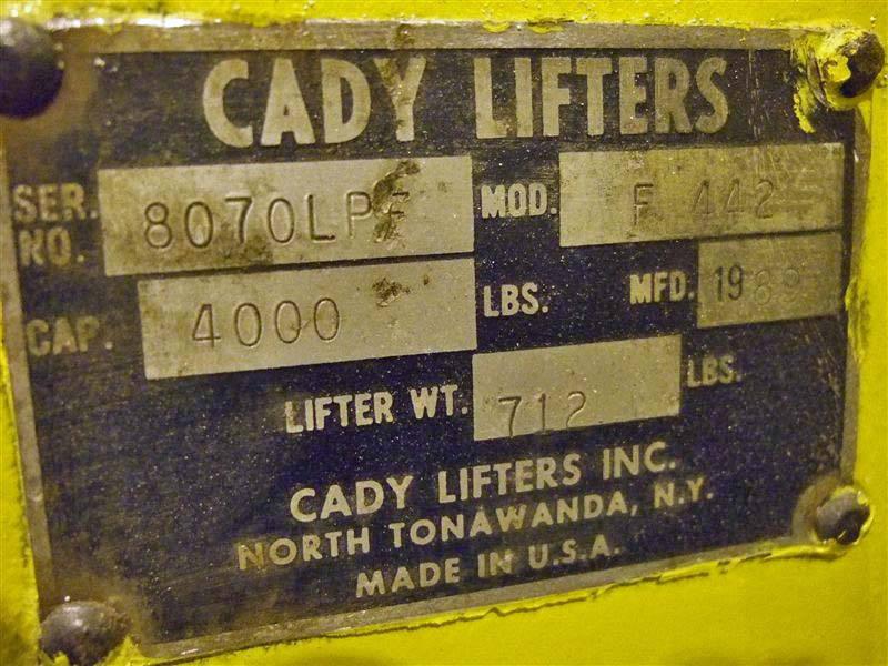 4,000# Crane Cady Pallet Lifter