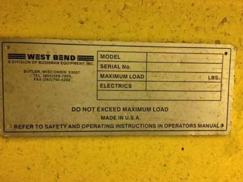 12,000# Westbend Coil Upender
