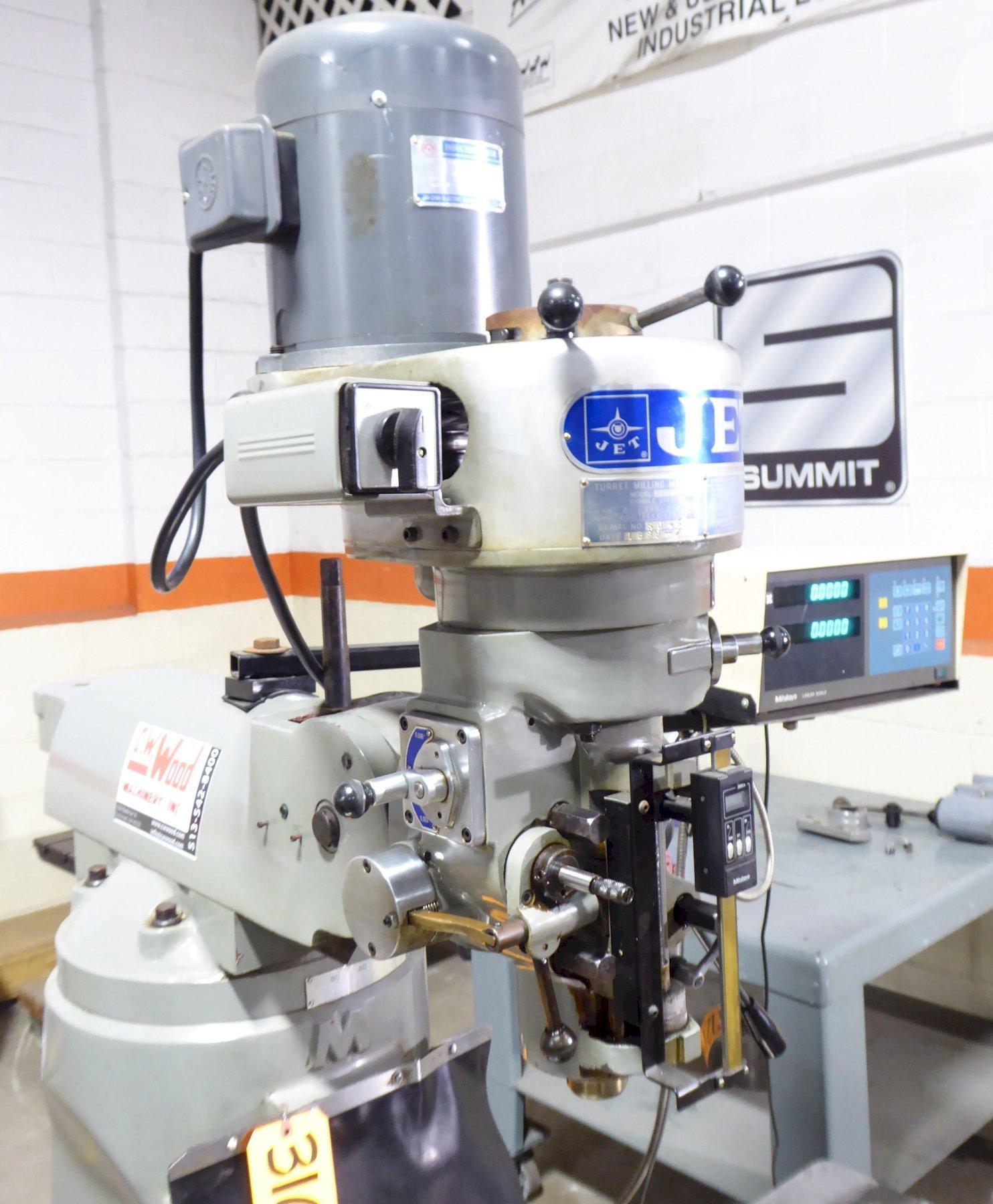 "JET Vertical Mill JTM-2, 2 HP,  9"" x 42"" P.F. Tbl., DRO, 1 Phase, Excellent"