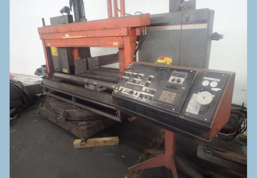"USED HEM HORIZONTAL MITERING BASE BANDSAW, Model DC-2038RBI, 20"" x 38"", Stock No. 10264"