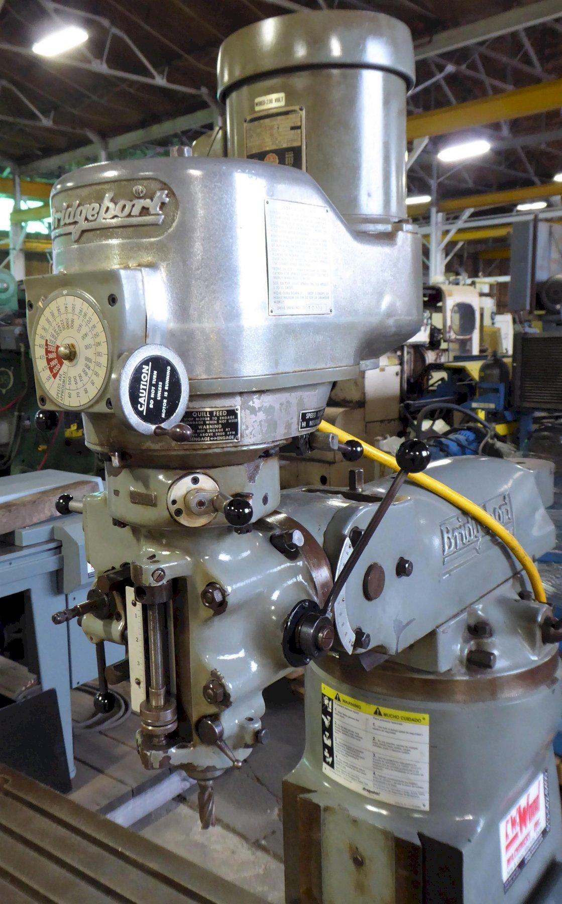 "Bridgeport Vertical Mill Series I, 9"" x 42"" PF Tbl., 1-1/2 HP, Clean"