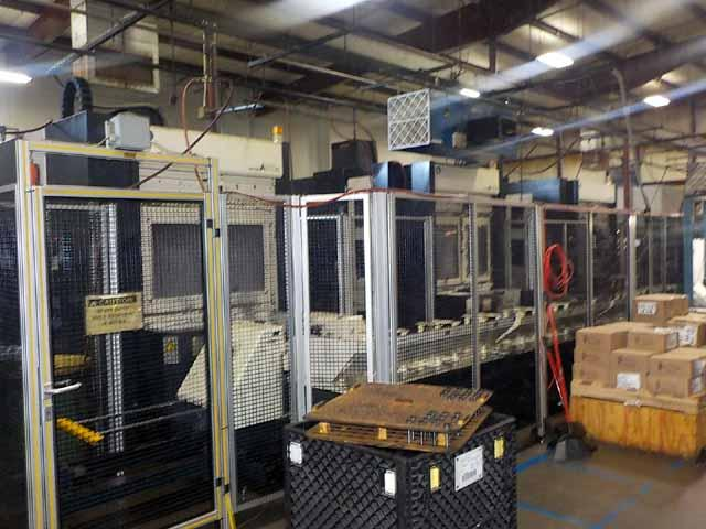 (3) Makino A55e Horizontal 4-Axis Machining Cell with MMC1 Pallet System, 2000, Pro3 CNC, Full 4th, Thru Spindle Coolant.