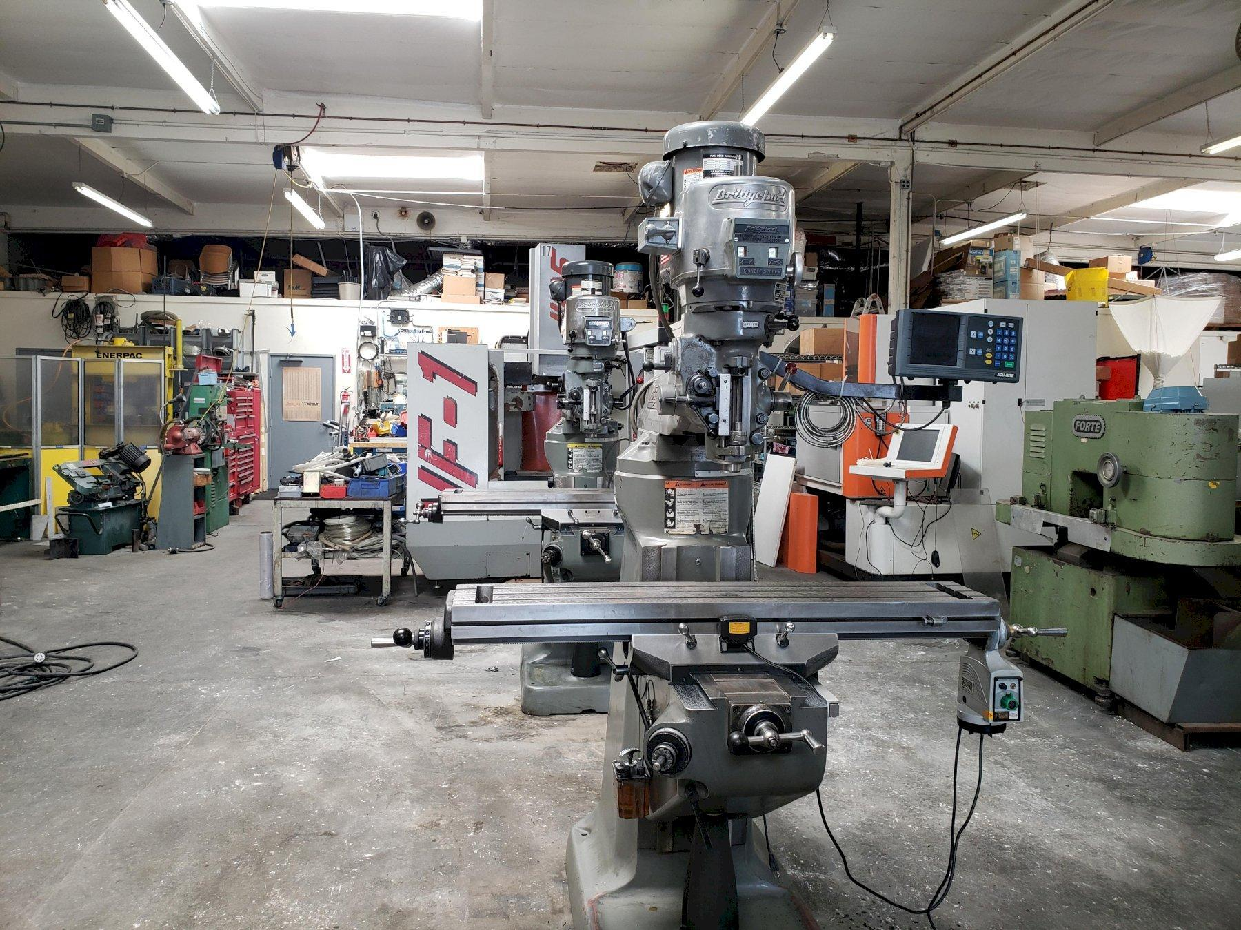 Bridgeport Series I Vertical Mill with: Acu-Rite 2-Axis DRO, Power Feed Table, New X&Y Screws and Nuts, and One Shot Lube.