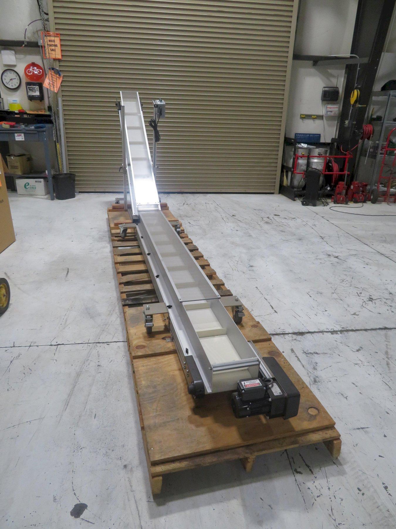 "HFA 2230 Horizontal to Incline Conveyor, 10"" wide x 8.5 ft horizontal x 7.25 ft incline, 110V"