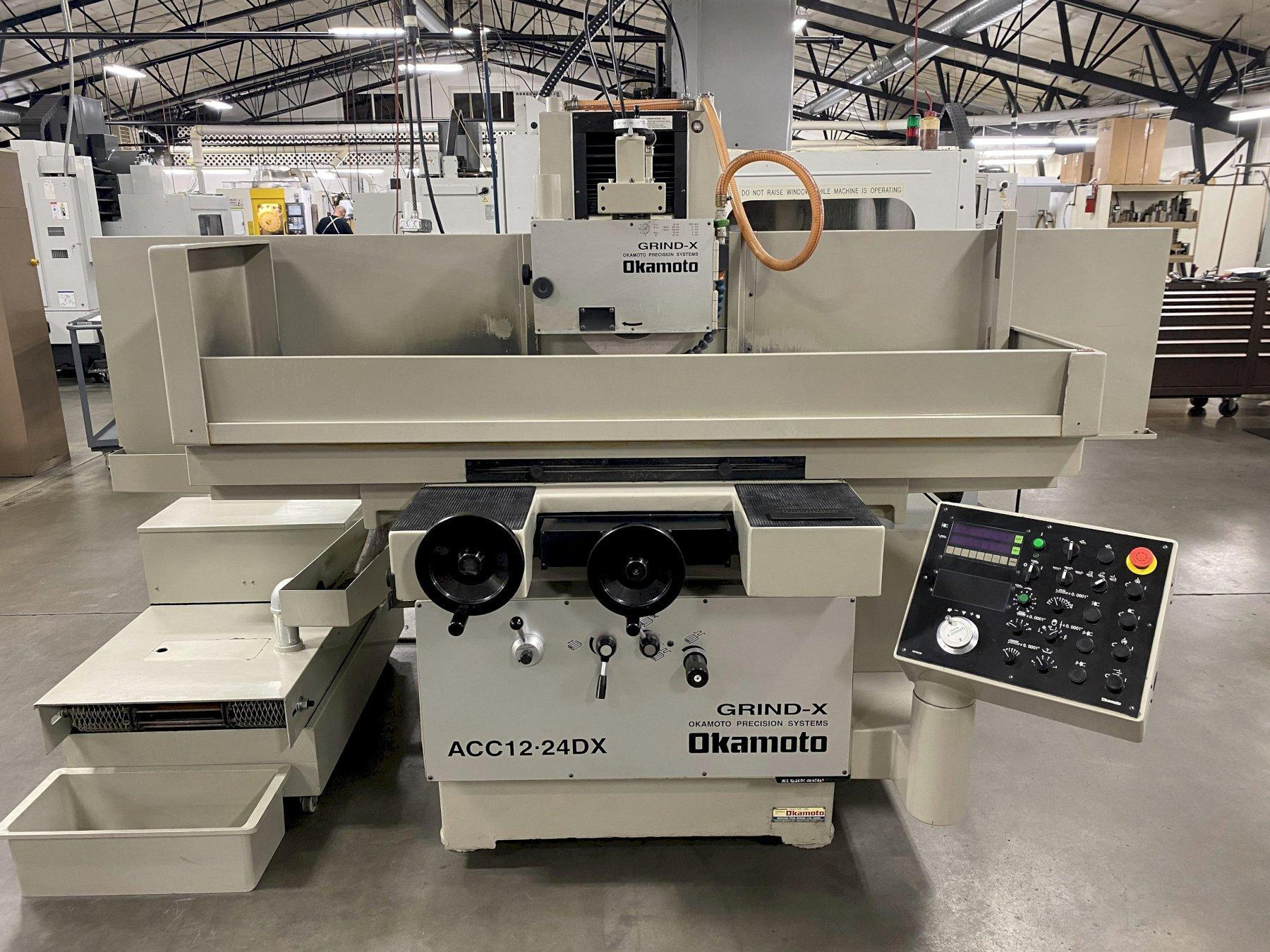 Okamoto ACC-12-24 DX Hydraulic Surface Grinder 2011 with: Okamoto Control, Walker Magnetic 12x24 Chuck, Hydraulic Over Wheel Dresser, 5