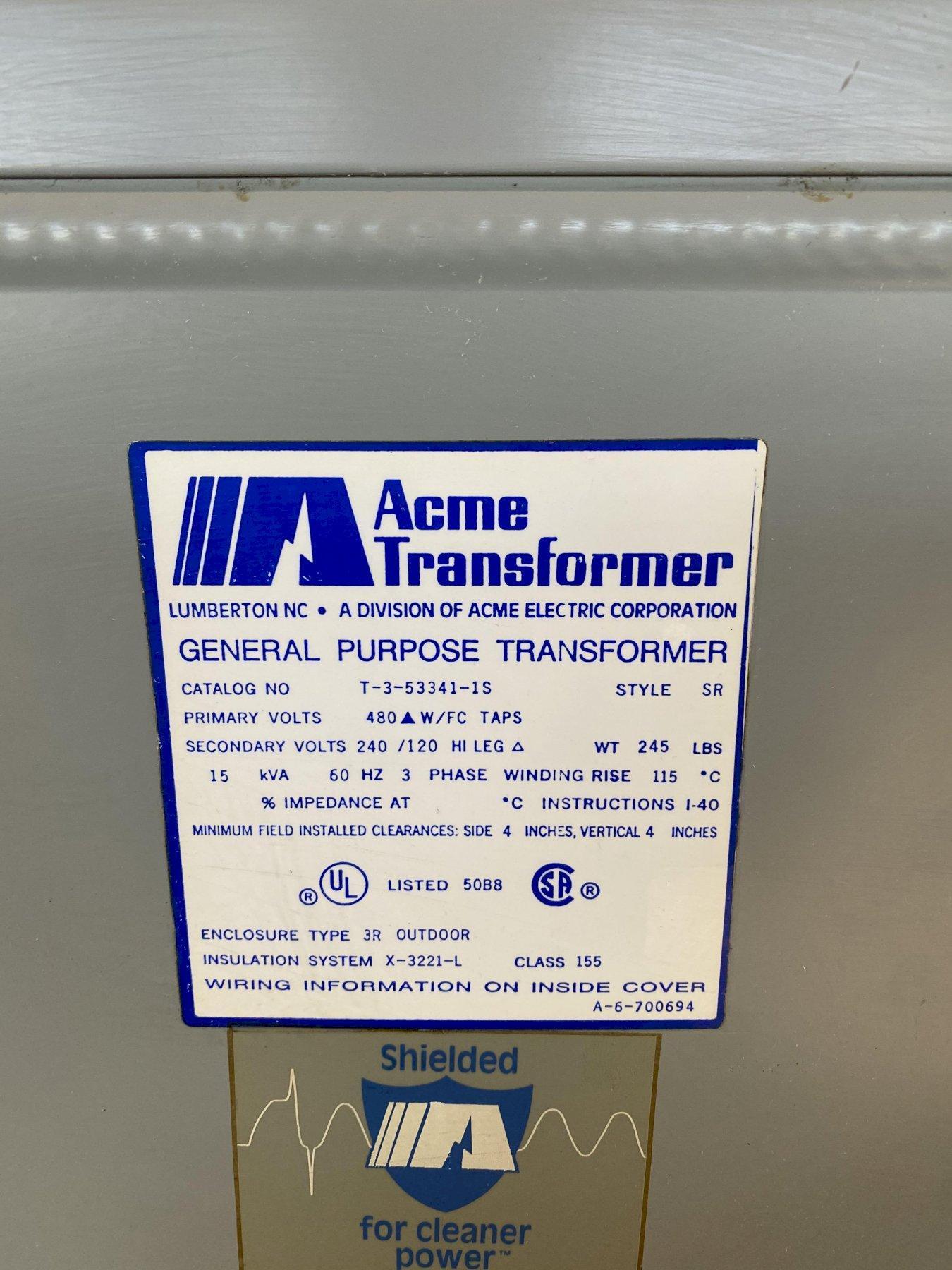 15 KVA ACME 480 PRIMARY, 240/120 SECONDARY STEPDOWN TRANSFORMER. STOCK # 1160620