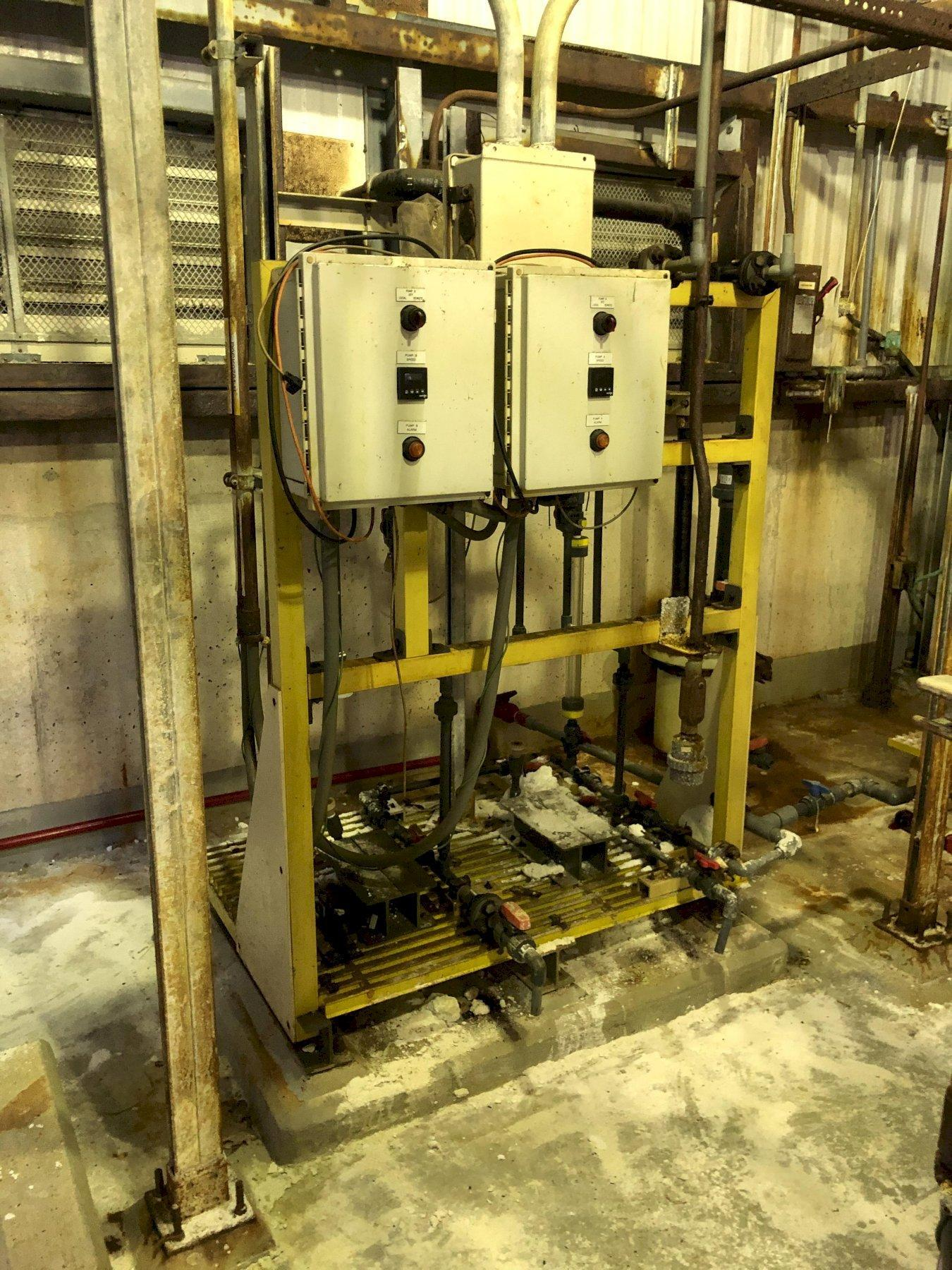 chemical pump room to include controls and a and b station with no pumps, ferric chloride station with 2- pumps, carbon source station with 2- pumps, sulfide station with 2- pumps, hydrochloric or polymer station with 2- pumps and related piping and valves in room