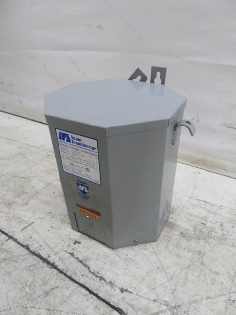 Acme Used Single Phase 7.5KVA Transformer, 240/480V to 120/240V, Outdoor Rated