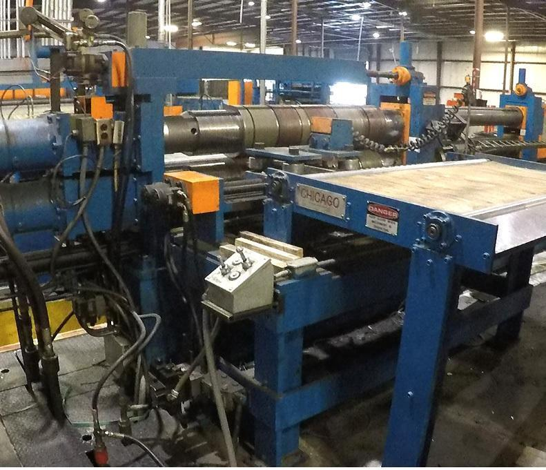 "60"" X .250 X 8"" X 40,000 LB CHICAGO STEEL SLITTING LINE WITH PACKAGING LINE: STOCK #12922"