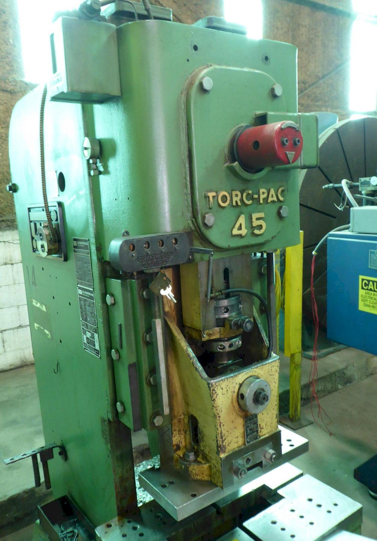 """45 Ton USI Clearing Torq-Pac O.B.I. Press, 4"""" Str., 12"""" S.H., 100 SPM, A.C., Just Removed From Service"""