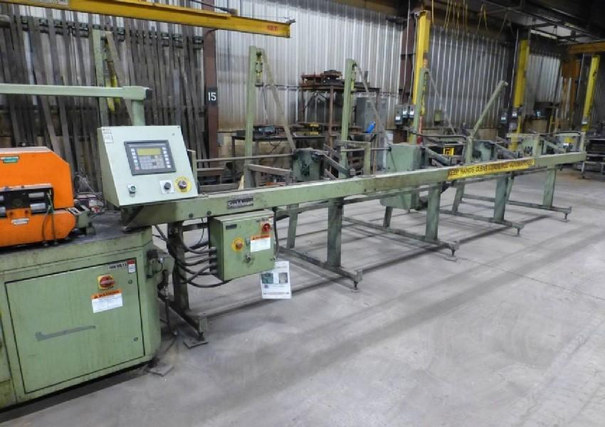 SCOTCHMAN CNC COLD SAW W/INFEED & OUTFEED CONVEYOR: STOCK #13326