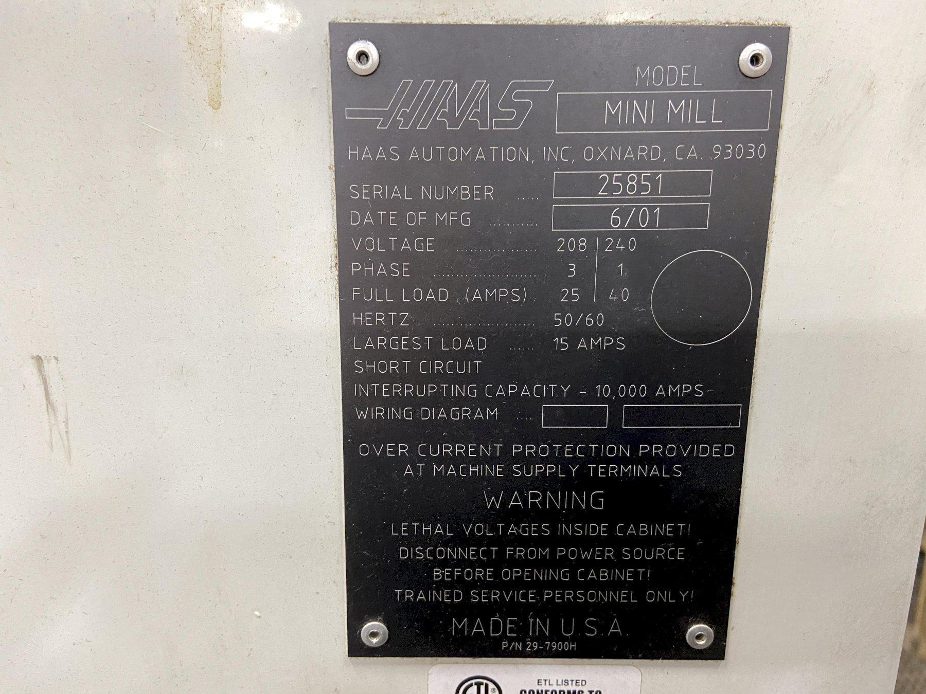 "Haas Mini Mill, 16""/12""/10"" Travels, 6K Spindle, 10 ATC, Rigid Tapping, Full Guarding, 40 Taper, 2001"