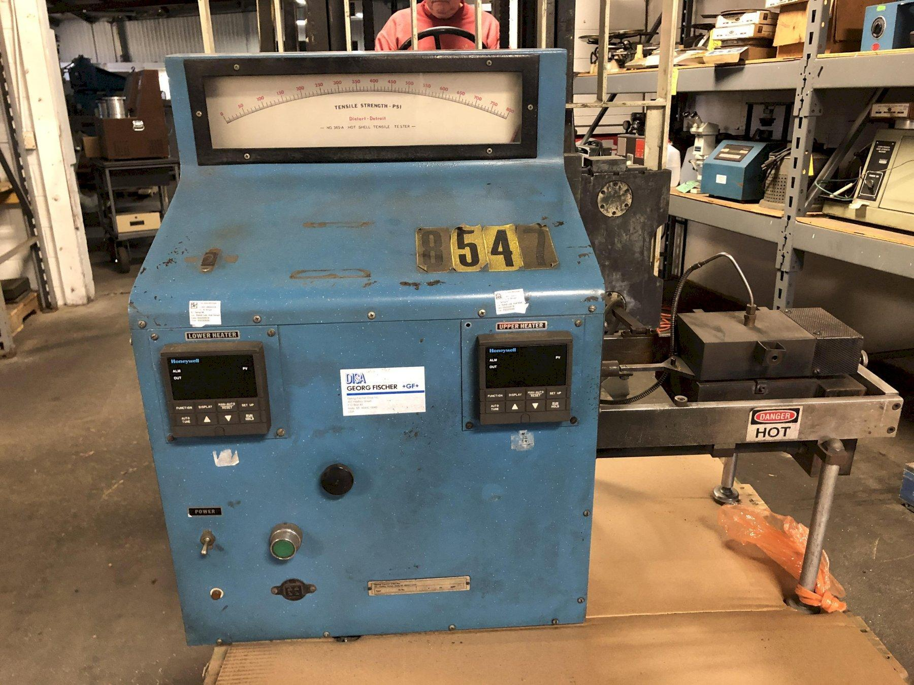 DIETERT MODEL 336A HOT TENSILE TESTER S/N 035 WITH HOENYWELL TOP AND BOTTOM DIGITAL TEMPERATURE CONTROLLERS