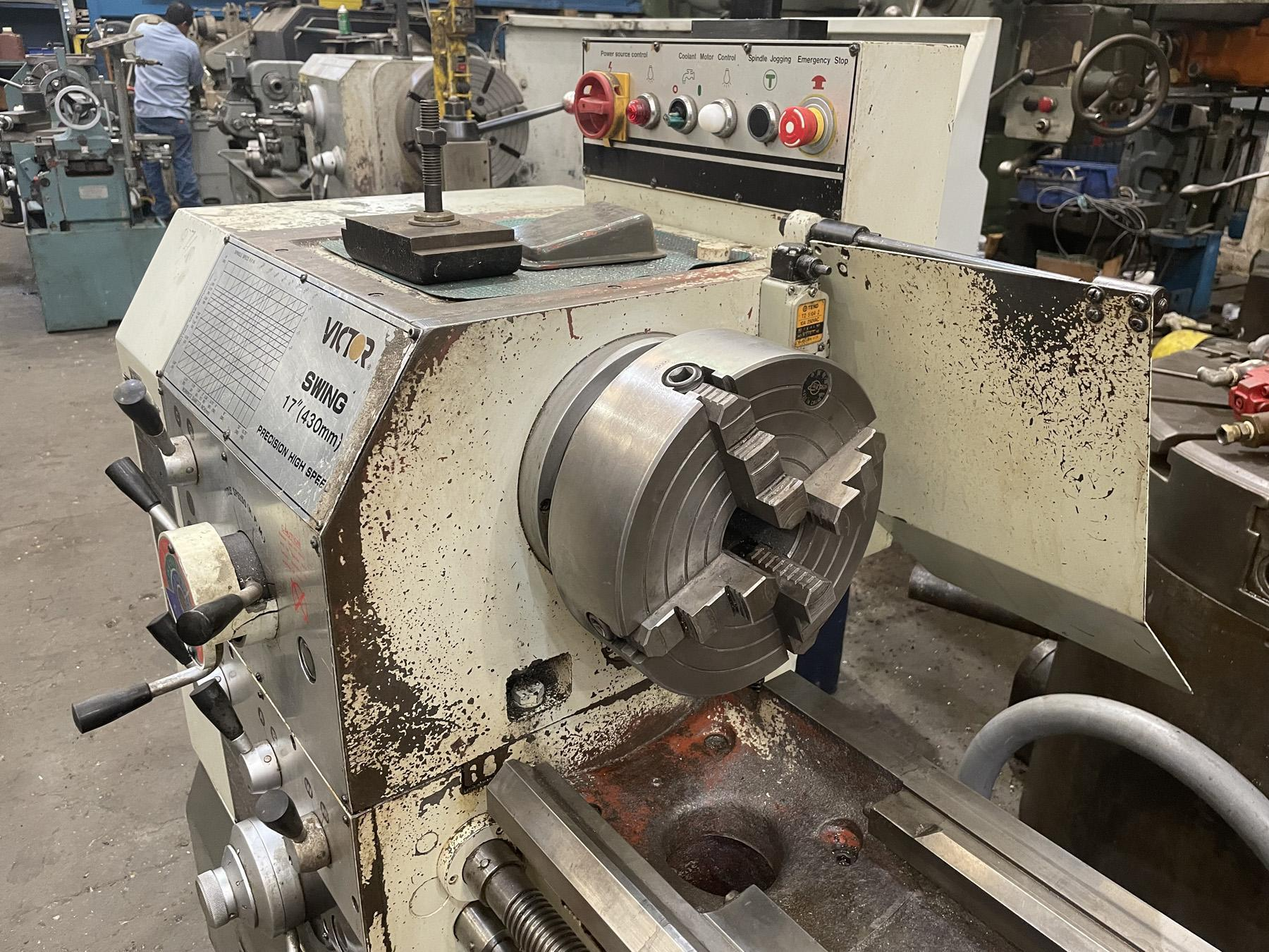 """USED, 17"""" X 60"""" VICTOR MODEL 1760T PRECISION HIGH SPEED ENGINE LATHE"""