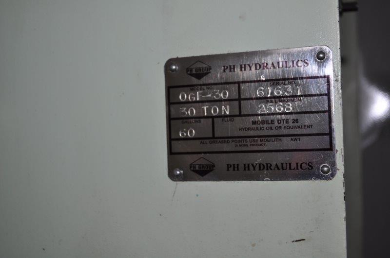 30 TON PH HDRAULICS MODEL OGF-30 HYDRAULIC PRESS