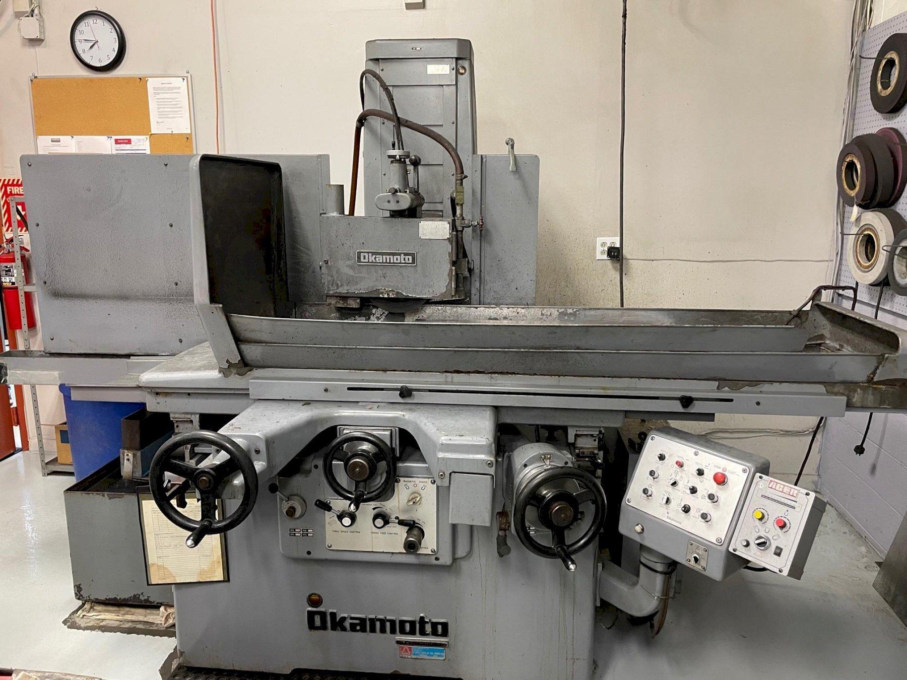 "Okamoto 1632N Hyrdaulic Surface Grinder, 16""x32"" Chuck, 12"" Wheel, Incr. Downfeed, Hyd. Over the Wheel Dresser, Sparkout, Coolant w/Filtration, 1985"