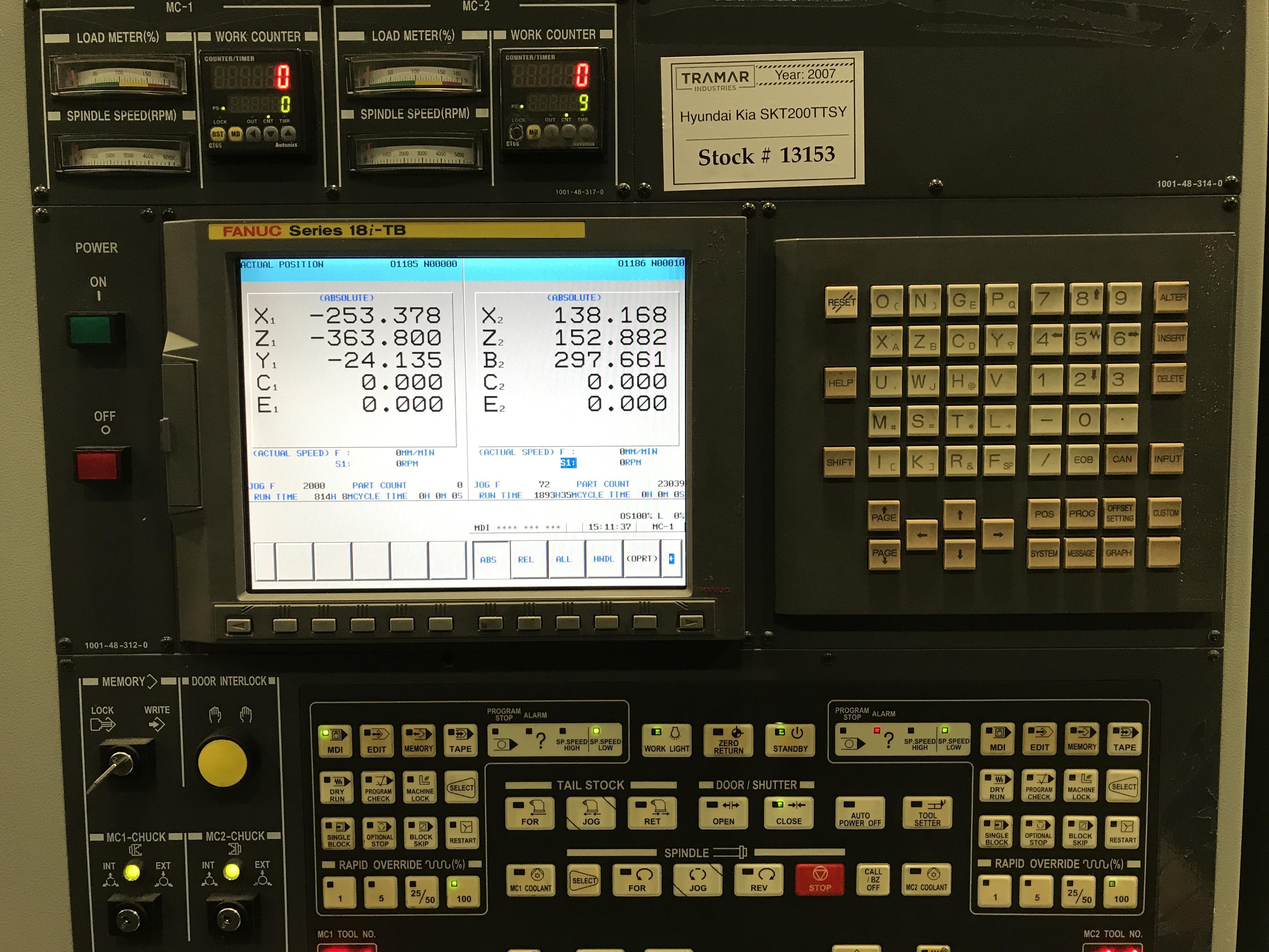 2007 HYUNDAI KIA SKT200TTSY - CNC Horizontal Lathe