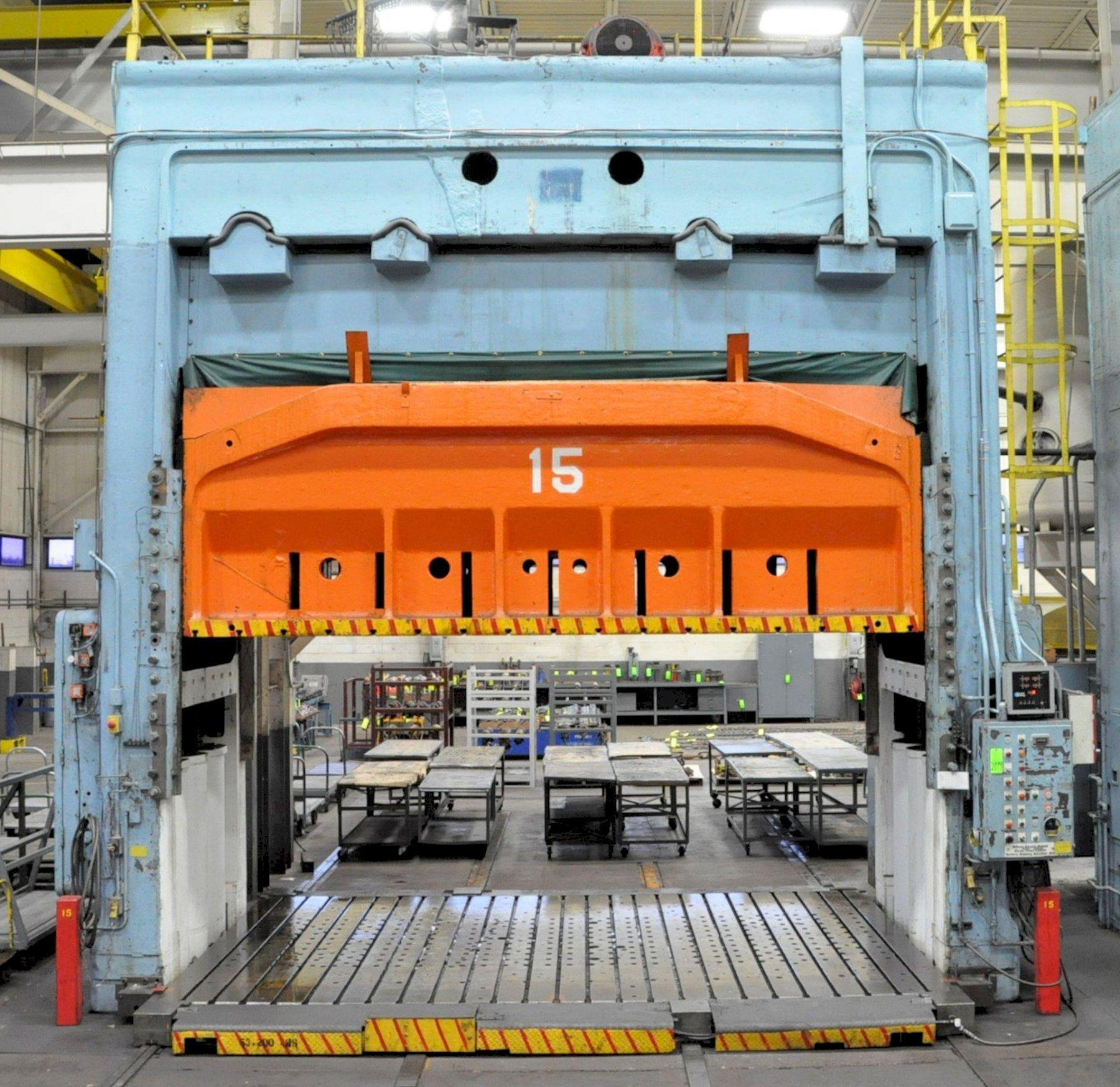 "1000 Ton Bliss 4-Point Mechanical Straight Side Press, 36"" Stroke, 63"" Shut Height, 209"" x 124"" x 8"" Rolling Bolster, Cushion"
