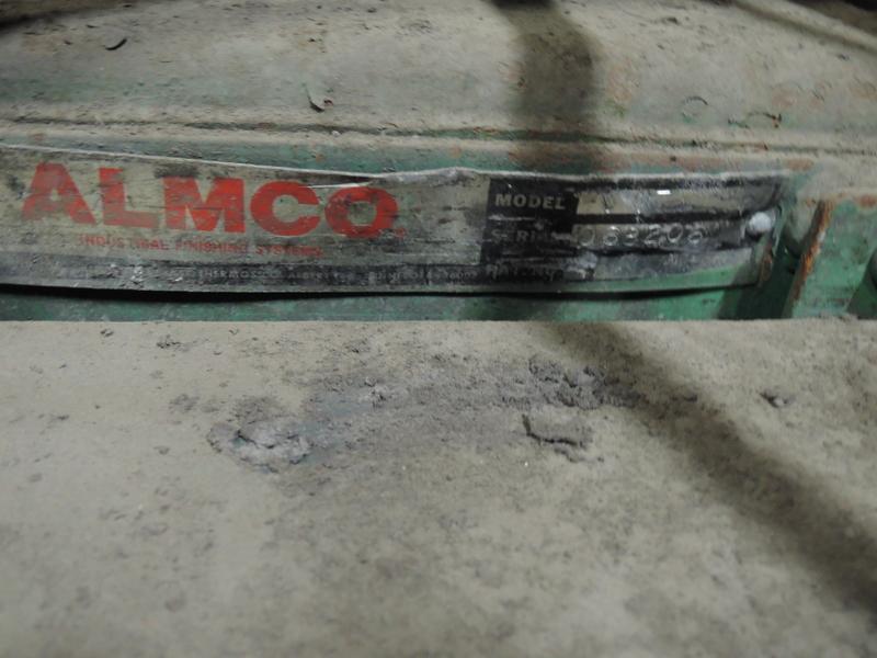 "ALMCO MODEL V-17 VIBRATORY FINISHING MACHINE 16.5 CU. FT.         S/N068206 WITH TUBAR MODEL TC DUMPER S/N D-9068, INSIDE 30"" DEEP X 46"" LONG X 24"" WIDE"