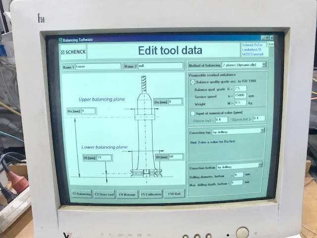 "SCHENCK TOOLDYNE TOOL BALANCING MACHINE, Model SV, HSK-63 Spindle adaptor, 12"" Diameter x 14"" Length Capacity, New 2001."