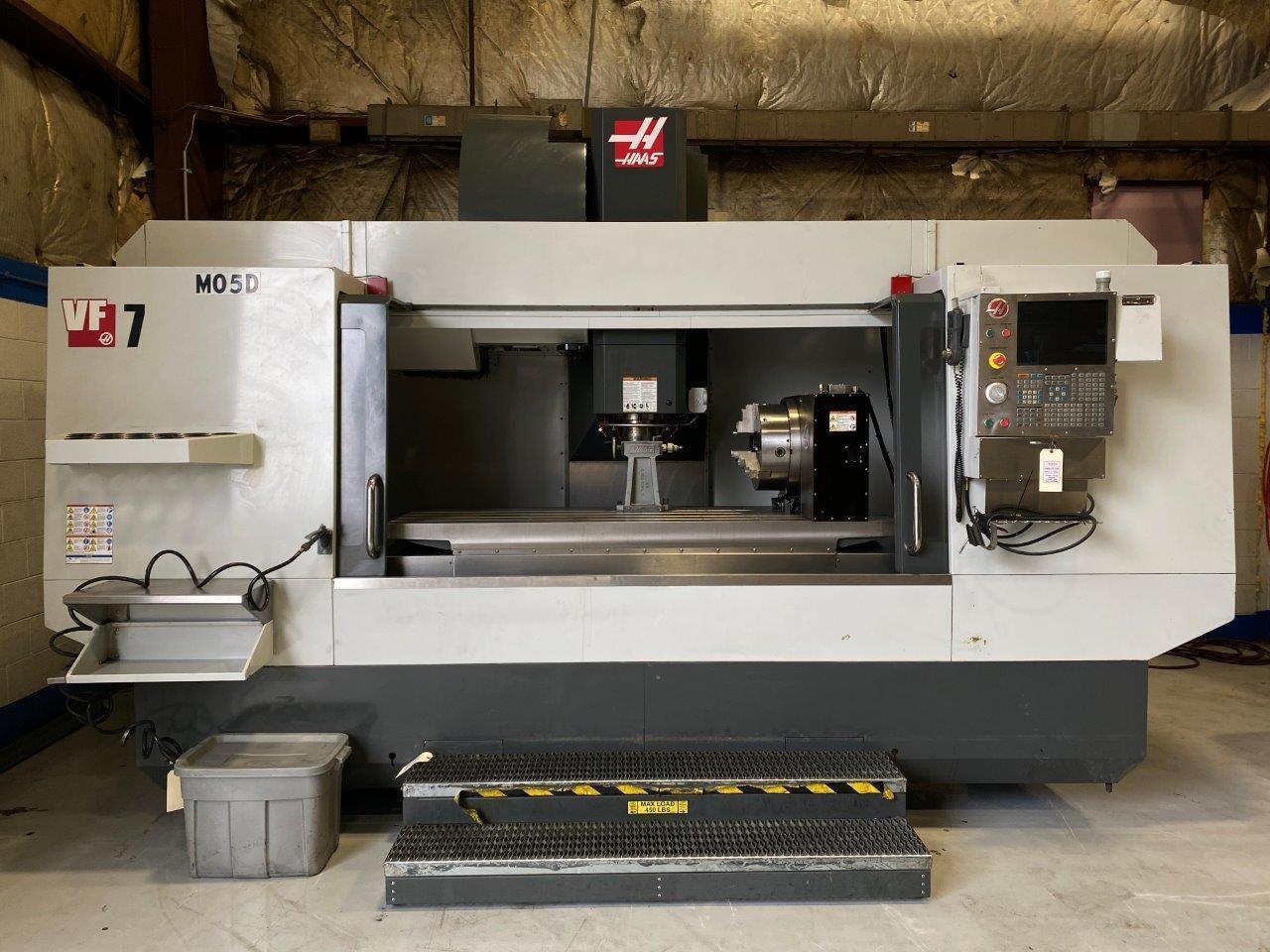 "Haas VF-7/50 CNC Vertical Machining Center, 84""/32""/30"" Travels, 50 Taper, 7500 RPM, 30 ATC, 30 HP, HRT-450 Rotary Table, 750MB Memory, Rigid Tapping, Coolant Thru Spindle, Gearbox, 2015"