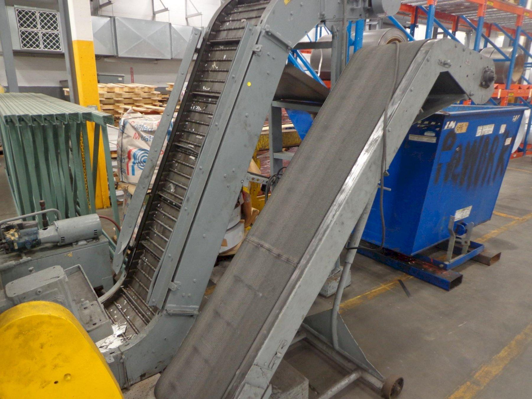 INCLINED METAL MAGNETIC BELT CONVEYOR: STOCK #12636
