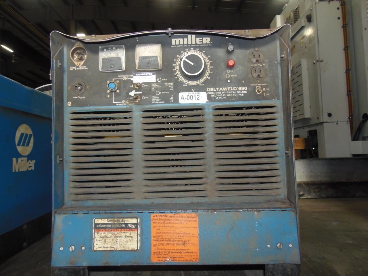 Miller 650 Amp Wire Feed Welder, Model Deltaweld 650, Power unit only