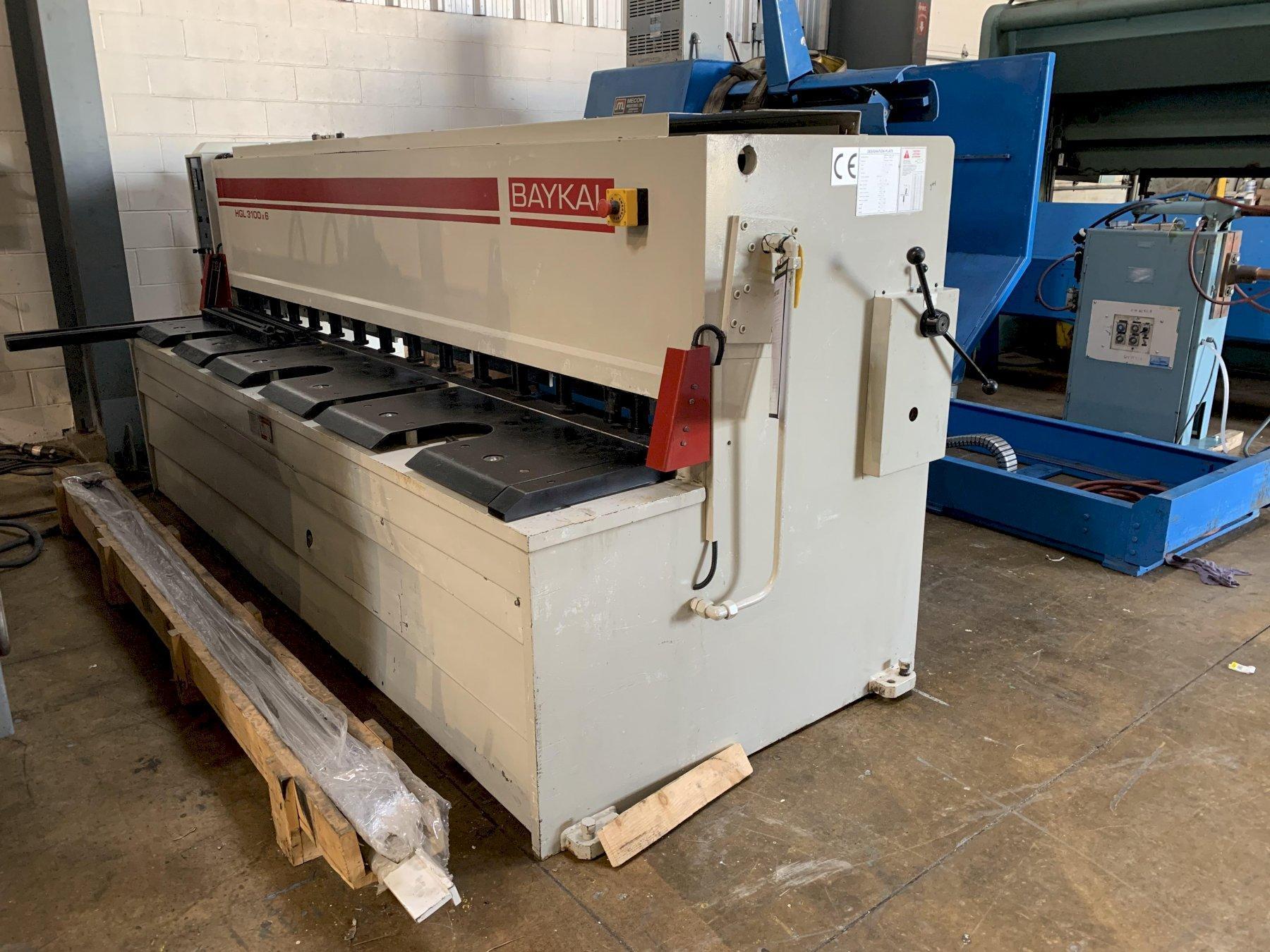 """10' x 1/4"""" Baykal Model HGL3100-6 Hydraulic Shear"""