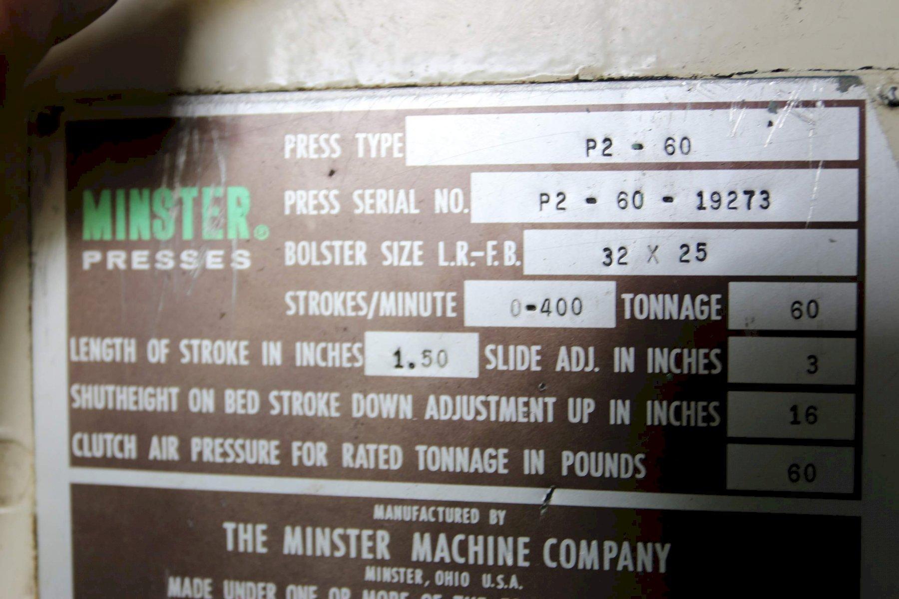 60 TON MINSTER MODEL #P2-60-32 PIECE MAKER SSDC PRESS: STOCK 68274