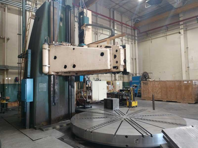 """300"""" OM SINGLE COLUMN CNC VERTICAL BORING MILL, 204"""" Table, 300"""" Swing, 130"""" Under the Rail, Ram Head with 60"""" Vertical Travel, 100 HP, 1-50 RPM, New 1992."""