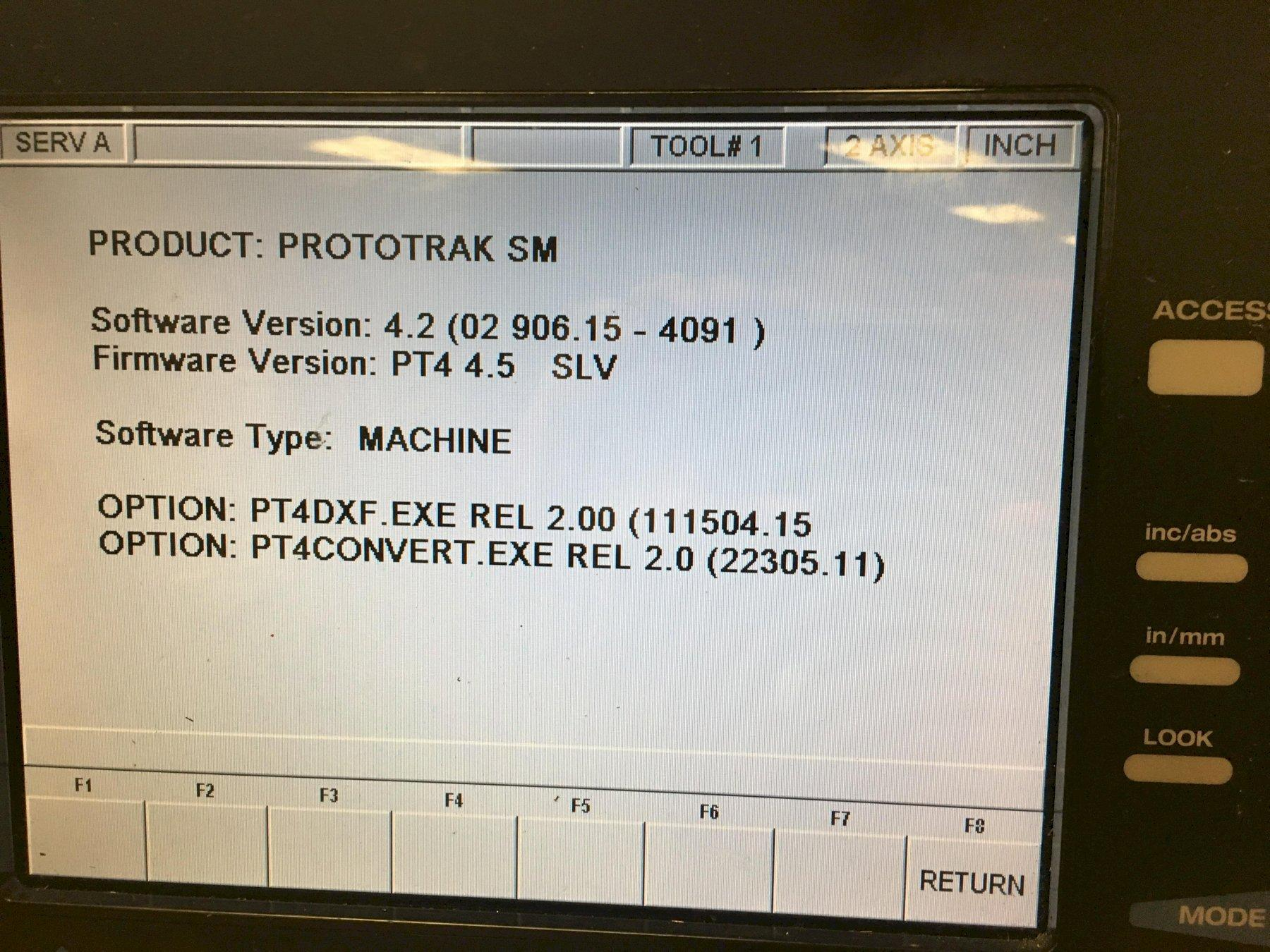 SWI TRAK Model K3 2-axis CNC Vertical Milling Machine, Prototrak SM Control