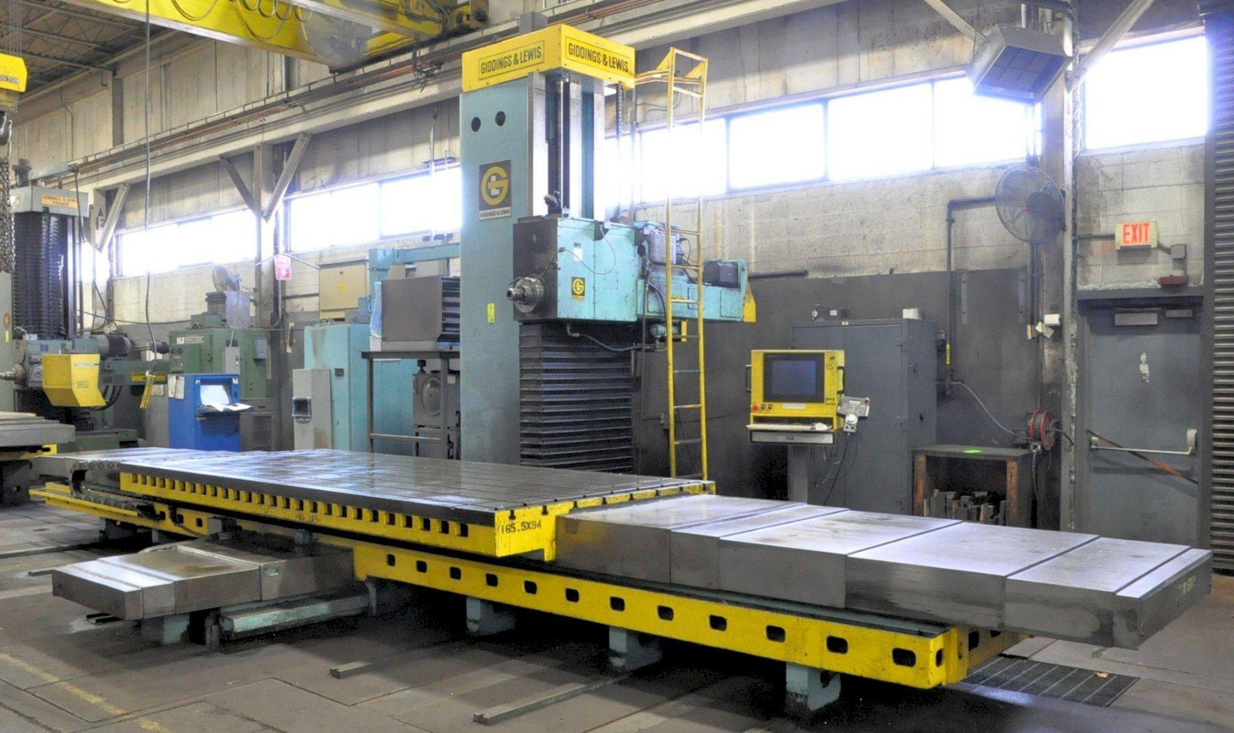 "6"" Giddings & Lewis Model G60F, Table Type Horizontal Boring Mill, 170"" X 72"" T-Slotted Table Size, 165"" X-Axis, 94"" Y-Axis 33.25"" Z-Axis, 44.75"" W-Axis, Chip Conveyor,"