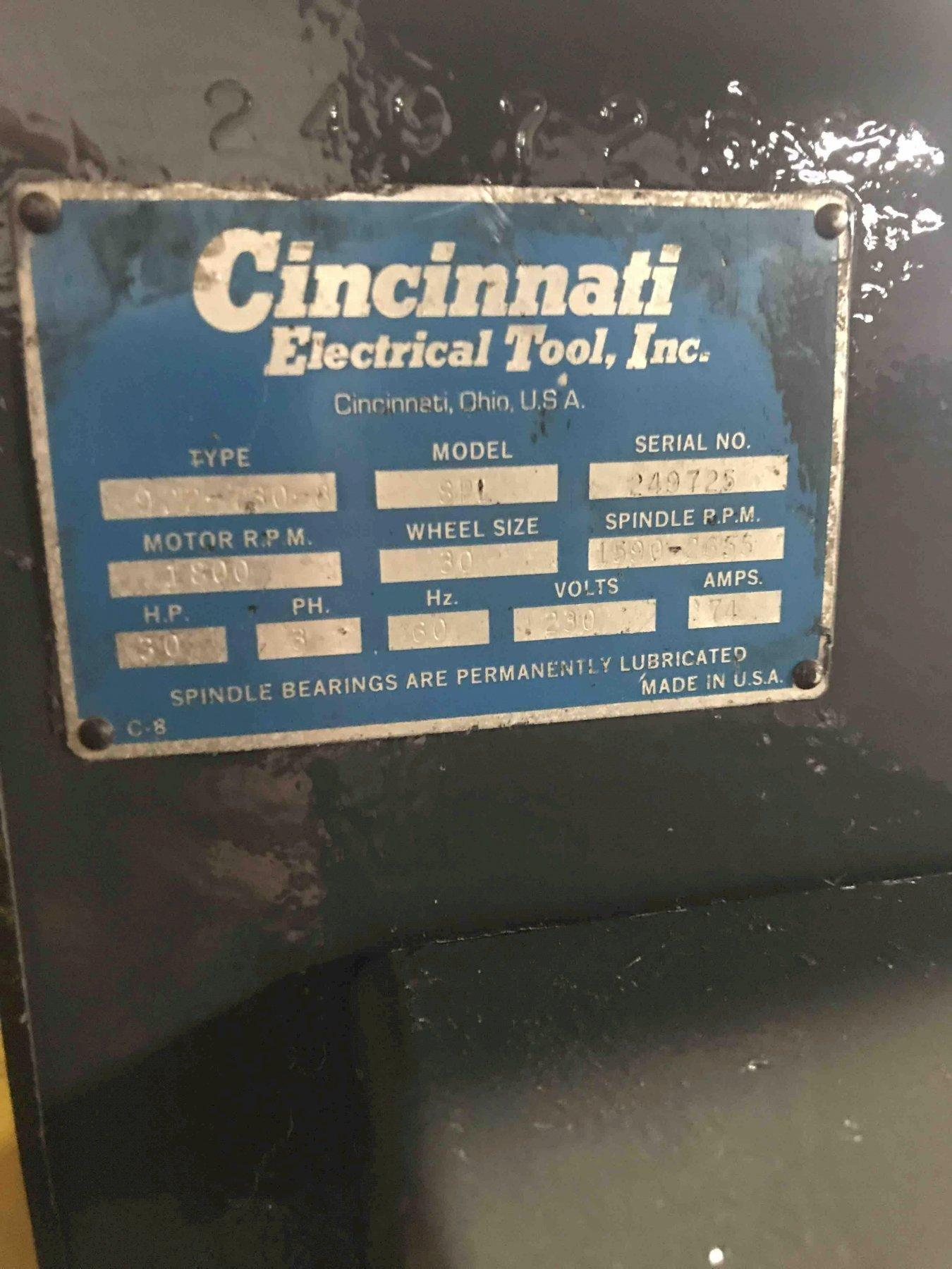 RECONDITIONED CINCINNATI SETCO 922-525 MODEL 300 SINGLE END VARIABLE SPEED RIGHT HAND SNAG GRINDER S/N 249725 WITH 30HP MOTOR, STARTER
