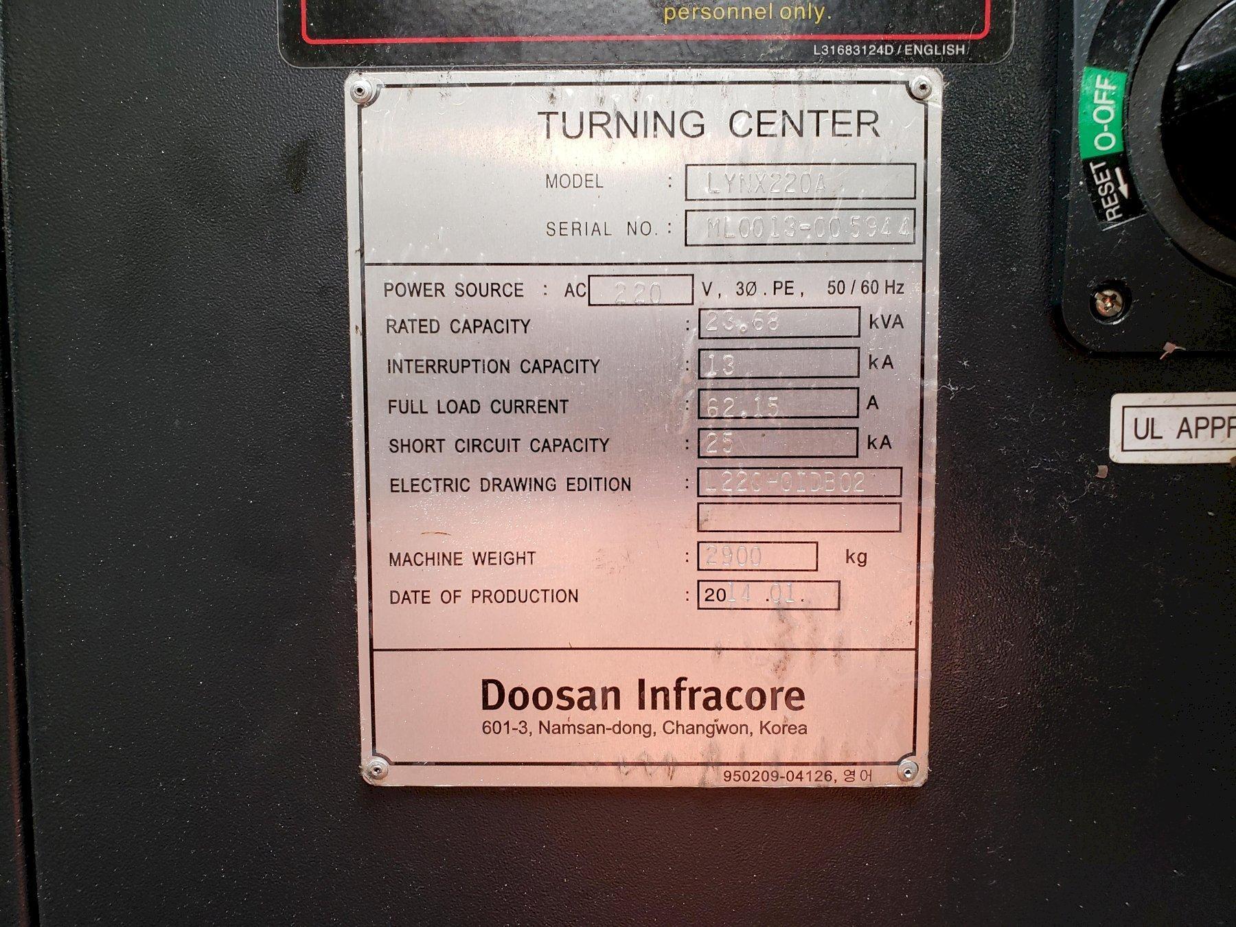 "Doosan Lynx 220A CNC Lathe 2014 with: Fanuc i Series CNC Control, 6"" chuck, Tool Presetter, Tailstock, and Chip Conveyor."