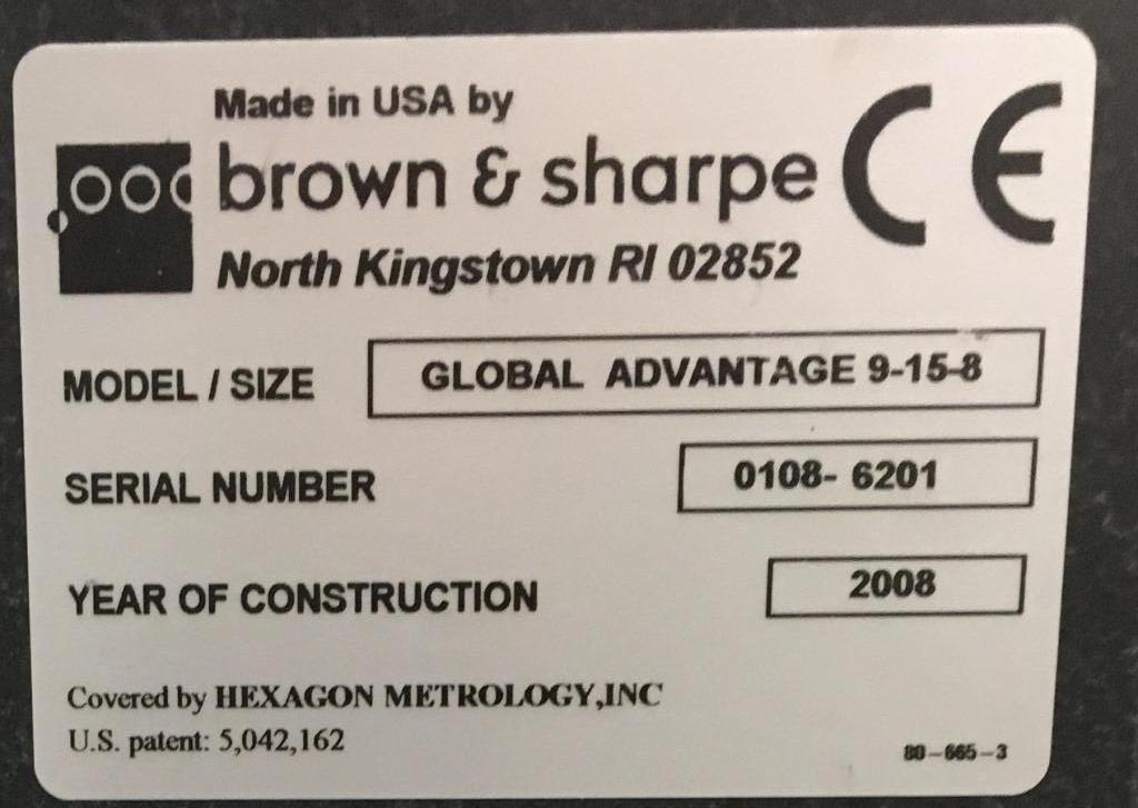 BROWN & SHARPEBROWN & SHARPE GLOBAL ADVANTAGE 9/15/8 DCC COORDINATE MEASURING MACHINE(CMM)